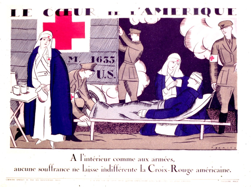 <p>Red Cross nurses are attending to a wounded man.  Two soldiers are standing by the wounded man's cot.  A third soldier is getting something from the back of the Red Cross truck.</p>