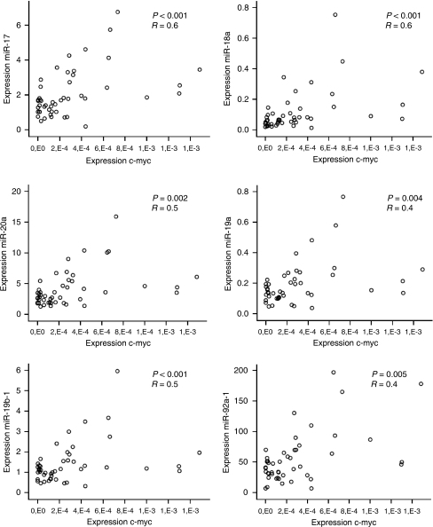 Correlation between the expression of the c-myc gene and each of the miRNAs of the miR-17-92 cluster. The scatter plots of c-myc mRNA expression (x axis) and expression of each of the miR-17-92 cluster miRNAs (y axis) show positive correlations.