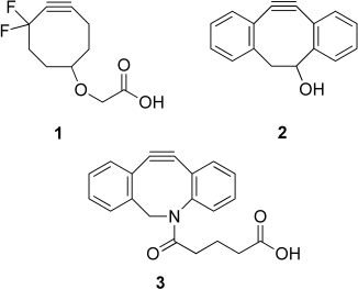 Ring-strained cyclooctynes for bioorthogonal cycloaddition reactions with azides.