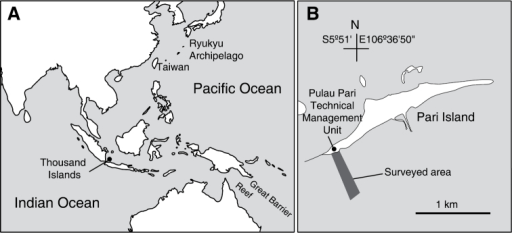 Location of Thousand Islands, Indonesia (A) and the surveyed area off Pari Island (B).
