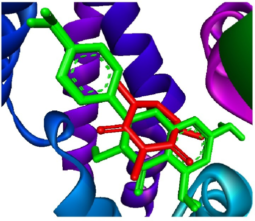 Superimposition of 1 and 2 (colored by green) and caffeine (colored by red) in the binding site of PDE1.
