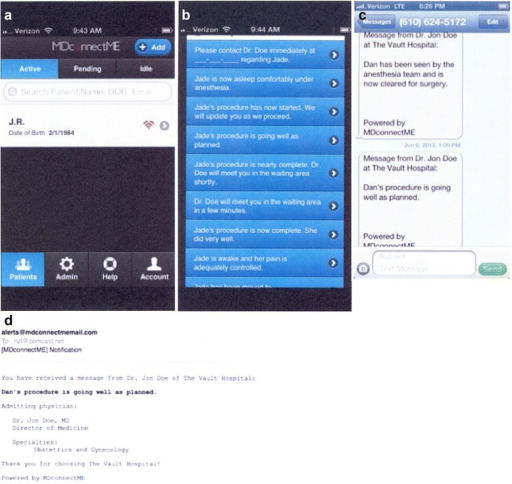 Sample screenshots depicting instantaneous perioperative messaging. These images show the simple user interface (UI) used by physicians or other healthcare professionals who sent messages to a HIPAA-compliant, patient-designated lists of recipients. Providers were able to select the patient they are treating (a) and choose a message from a customizable list of pre-populated message fields during surgery (b). In turn, recipients instantaneously received these messages on their hand-held devices, either via SMS (c) or email (d)