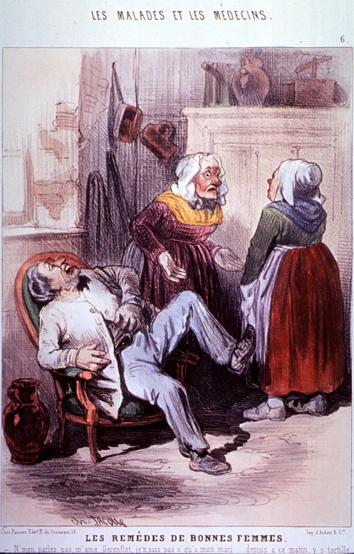 <p>Interior scene showing two women, in the background, arguing over the proper remedy to cure the malady suffered by the man leaning back in a chair, groaning, holding his stomach, and with one foot raised.</p>