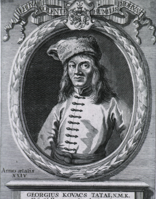 <p>Half-length, left pose, full face; wearing hat; in oval; coat-of-arms.</p>