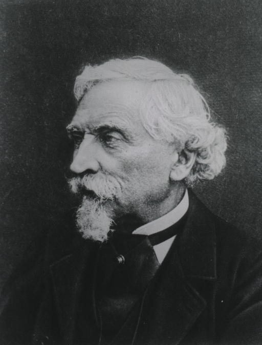 <p>Portrait of Balbiani, bust, face three-quarters to left, wearing suit and cravat, white hair and beard.</p>