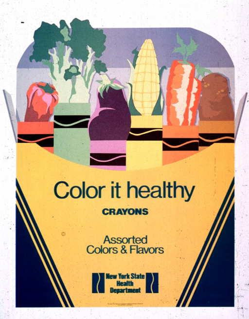 <p>White poster with green lettering.  Poster dominated by visual image, which is an illustration of a Crayola crayon box.  The box is open and it contains colorful vegetables, wrapped in matching Crayola-style paper covers.  The vegetables are red pepper, broccoli, eggplant, corn, carrot, and potato.  Title, note, and publisher information all on crayon box.</p>