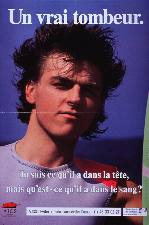 <p>Multicolor poster with white and black lettering.  Title at top of poster.  Visual image is a reproduction of a color photo of an attractive young man at the beach.  Caption superimposed near bottom of photo asks while one knows what's in his head, what's in his blood?  Note and publisher and sponsor information at bottom of poster.</p>