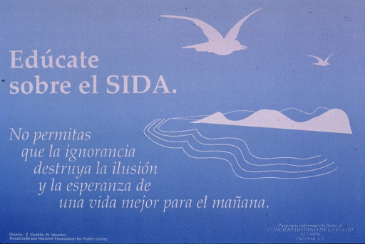 <p>Predominantly light blue poster with white lettering.  Title near upper left corner.  Title deals with learning or teaching about AIDS.  Visual image is an illustration of two birds flying over an island.  Caption below title urges not letting ignorance destroy the vision and hope of a better life in the future.  Sponsor information in lower left corner; publisher information in lower right corner.</p>