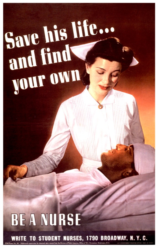 <p>A nurse is standing at the bedside of a man whose head is bandaged.</p>