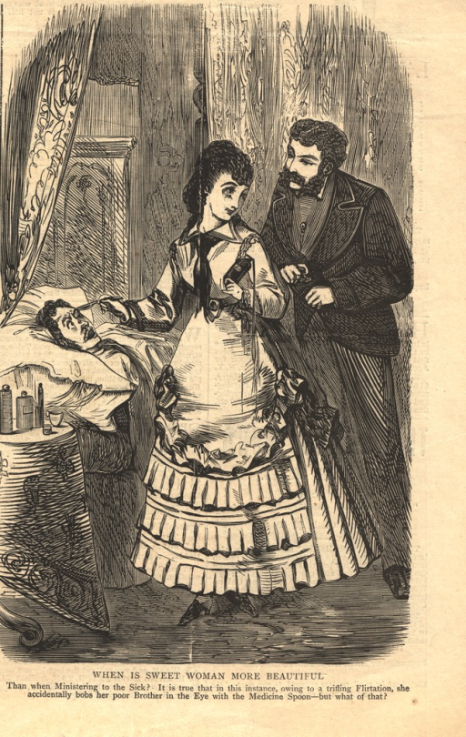 <p>A female physician is shown poking the eye of a patient who lies in bed, as she turns to look into the eyes of a suitor.</p>