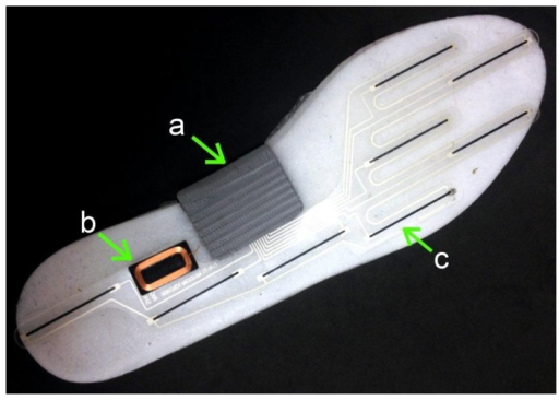 Instrumented insole: (a) inertial sensor, Bluetooth, microcontroller and battery module; (b) coil for inductive recharging; and (c) pressure sensors. Reproduced with permission from Stacy Morris Bamberg (Veristride, Salt Lake City, UT, USA).