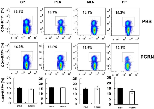 PGRN treatment does not change the proportions of CD4+CD25+Foxp3+ cells in normal conditions.One week-old Foxp3-RFP reporter mice were divided into two groups, three mice per group. PGRN group mice were treated with 100 µg PGRN every two days for 1 week, and PBS group mice were injected with the same volume of PBS as a control. The lymphocytes of spleen, peripheral lymph nodes (PLN), mesenteric lymph nodes (MLN), and Peyer's patches (PP) were isolated and analyzed by FACS. All data are representative of three independent experiments.