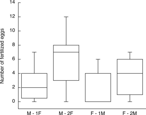 Fertilization outcomes for Experiments 3 (female subjects, F) and 4 (male subjects, M) summarized to show the sex comparison in reproductive success gains from a second mating with insemination.The M– 2F and F– 2M birds mated with a second opposite-sex bird on the next day; the M– 1F and F– 1M birds are the controls in the experiments that mated once on one day. The box plots show the median, lower and upper quartiles and range. Both sexes gained from the second mating on average, but some subjects still had zero success (see text and Figs 5 and 6).