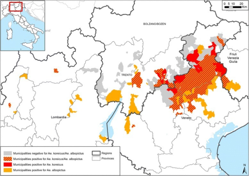 Map of municipalities positive for the presence of Aedes koreicus, Aedes albopictus and their overlapping areas in northern Italy, 2011–2015. The names of municipalities are available in the Additional file 1