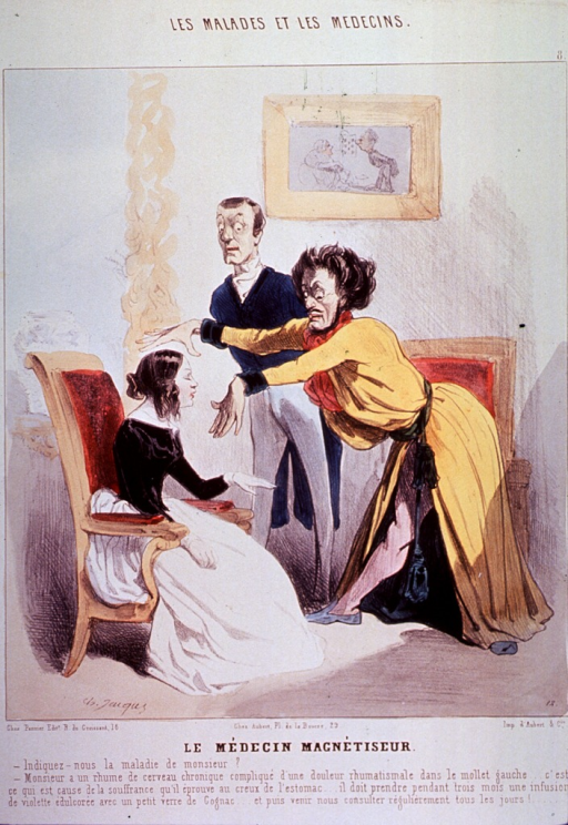 <p>A man is hypnotizing a woman seated in a chair; a man standing in the background looks on with a startled countenance.</p>