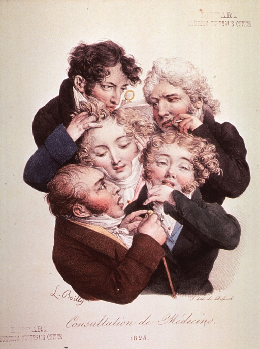 <p>Cluster of five men shown half-length and with expressions of concern.</p>