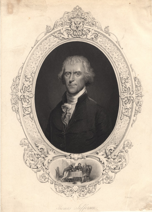 <p>Half-length, left pose, full face; in oval.  Vignette (below portrait) of Jefferson showing draft of Declaration of Independence to Franklin and Adams.</p>