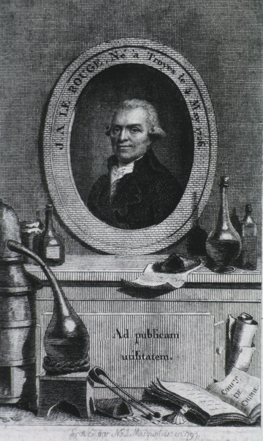 <p>Head and shoulders, left pose, full face; in oval on pedestal; medical glassware, open book in foreground.</p>