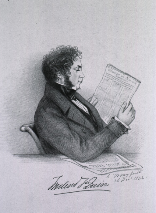 <p>Seated, right profile reading &quot;Courrier de L'Europe&quot;; other papers on table.</p>