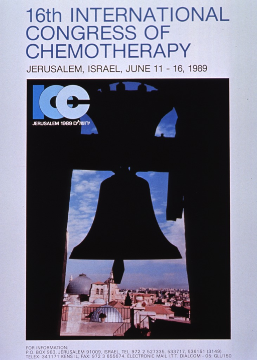 <p>White poster with blue and black lettering announcing congress, June 1989.  Also lists dates, address and phone for more information.  Title in blue at top of poster.  Dominant visual image is color photograph taken from inside a bell tower.  It shows the bell and a roof-top view of Jerusalem on a day with scattered clouds.  Logo for conference appears in upper left corner of photo.</p>