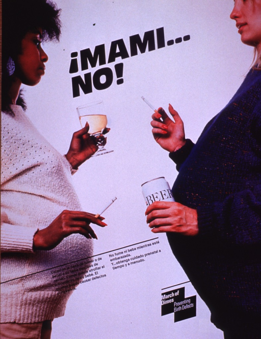 <p>Multicolor poster with black and white lettering.  Title near top of poster.  Visual image is a color photo reproduction featuring two pregnant women.  The women drink wine and beer while they smoke cigarettes.  Caption in lower portion of poster.  Caption urges not smoking or drinking while pregnant, since smoking can stunt a baby's development and alcohol can cause birth defects.  Appropriate prenatal care is also addressed.  Publisher information and note in lower right corner.</p>