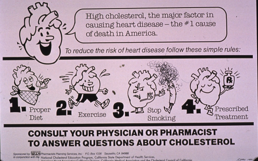 <p>Predominantly white poster with black lettering.  Title at top of poster, as text spoken by a cartoon-style heart.  Additional text below title recommends a proper diet, exercise, not smoking, and prescribed treatment to reduce the risk of heart disease.  Illustrations of the cartoon-style heart engaged in each activity accompany text.  Caption and publisher and sponsor information at bottom of poster.</p>