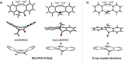 Structural analysis ofBARAC. (a) DFT calculations (B3LYP/6-31G(d))of cis- and trans-BARAC. (b) Frontand side view of BARAC obtained via X-ray crystallography. CrystallineBARAC exists as the trans conformer. Thermal ellipsoidplots are shown at 50% probability.