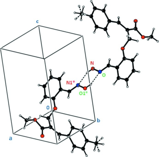The crystal structure showing the centrosymmetric hydrogen bond motif R22(6). For the sake of clarity, the H atoms not involved in the motif have been omitted. The atoms marked with an asterisk (*) are at the symmetry position (2 - x, -y, 1 - z). The dashed lines indicate the hydrogen bonds.