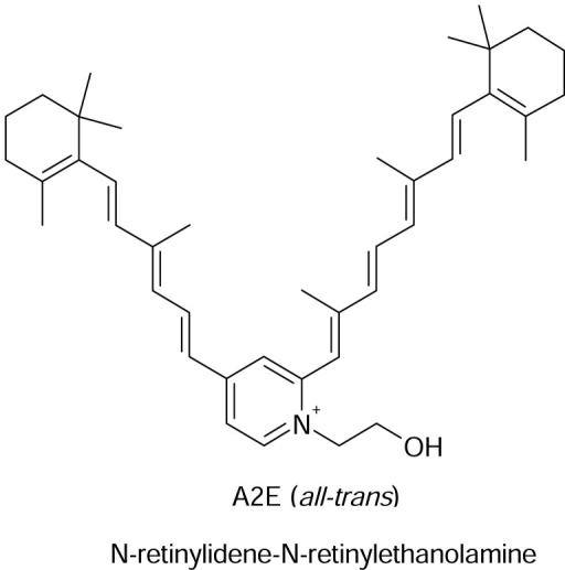 A2E, a fluorescent retinoid derivative isolated from retinal pigment epithelial cells