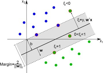 Support vector classification (SVC). Illustration of an SVC classification function represented by wTx. The slack variables ξi=yiwTx facilitate the trade-off between the size of the margin (indicated by a gray tube) and the error due to misclassifications. w denotes the weight vector, yi the label of instance i, and x is the feature vector. ξi can assume a positive value between 0 and for 1 for training instances located in the margin. For instances on the wrong side of the margin ξi is less than 0. Support vectors are indicated by a red ring.