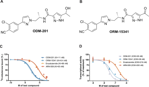 The structures of ODM-201 (A) and its main metabolite ORM-15341 (B).Representative binding affinities of ODM-201, ORM-15341, enzalutamide, and ARN-509 measured in competition with [3H]mibolerone using wtAR isolated from rat ventral prostates (C). All data points are means of quadruplicates ±SEM. Ki values are presented in parentheses. D. Antagonism to wtAR was determined using AR-HEK293 cells treated with ODM-201, ORM-15341, enzalutamide, or ARN-509 together with 0.45 nM testosterone in steroid-depleted medium for 24 hours before luciferase activity measurements. All data points are means of triplicates ±SEM. IC50 values are presented in parentheses.