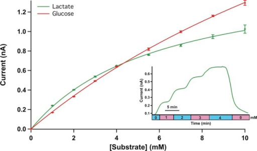 Typical calibration curves for 50 μm disc glucoseand lactatebiosensors in the microfluidic device at 1 μL/min. Mean ±standard deviation of measurement shown (n = 4).Points fitted with the Michaelis–Menten equation. Inset: Rawdata for a typical 5-point lactate calibration from 0 to 4 mM in 1mM steps.
