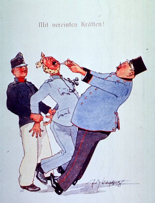 <p>An officer is pulling an enlisted man's tooth, while the man is held from behind.</p>