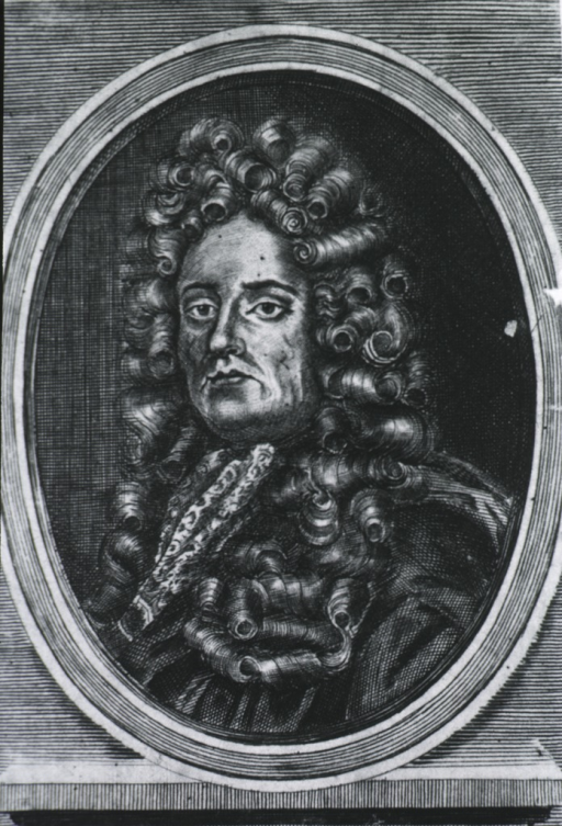 <p>Head and shoulders, left pose, long curls; in oval on base with name plate &quot;Johannes Moyle Senr.&quot;</p>
