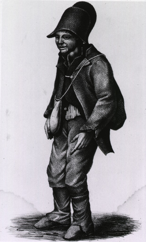 <p>Full length view of a half cretin, wearing hat, jacket, and trousers.  Described as a happy beggar, free to go from village to village singing and dancing for money.</p>