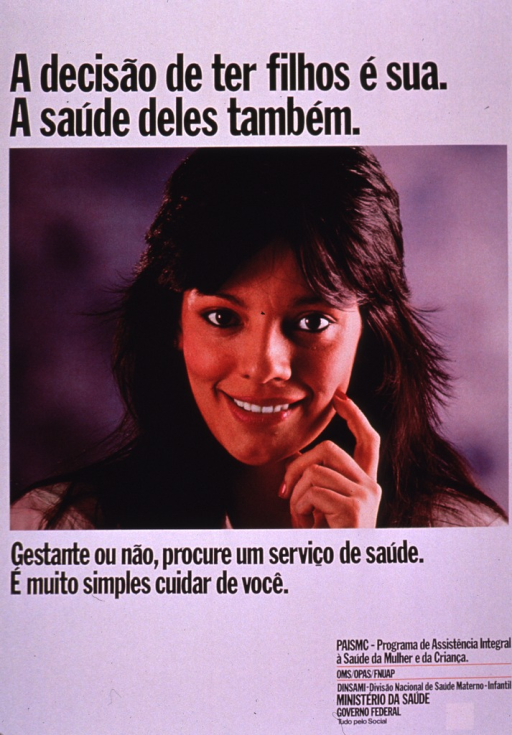 <p>Predominantly white poster with black lettering.  Title at top of poster.  Visual image is a color photo reproduction featuring the face of a smiling woman.  Caption below photo urges seeking health care whether pregnant or not and notes that it is simple to take care of oneself.  Publisher information in lower right corner.</p>