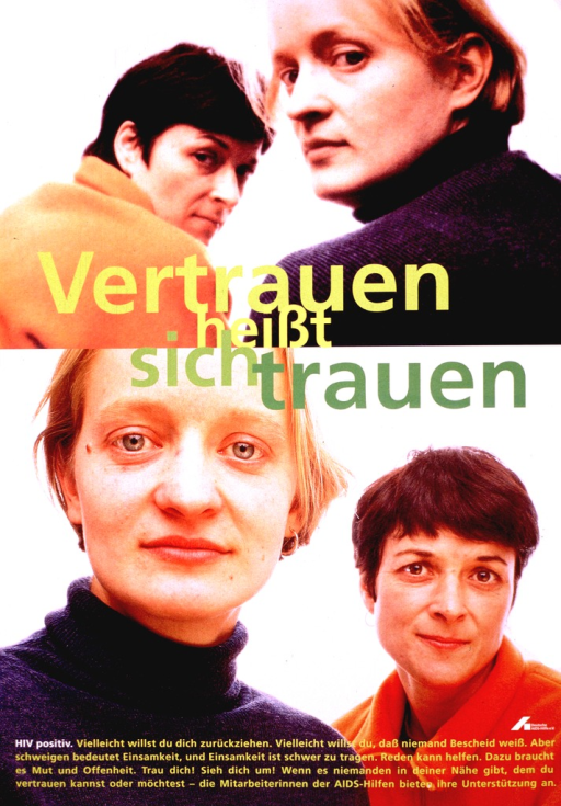 <p>Two color photographs, one on top of the other, of the same two women in different poses.  The title words and other text are in various shades of green, with the words &quot;HIV positiv&quot; highlighted in white.  The logo of Deutsche AIDS-Hilfe appears on the right.</p>