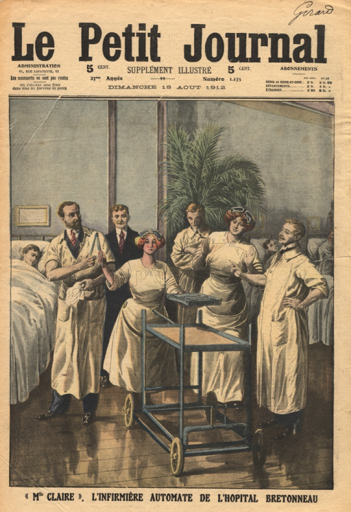 <p>A nurse robot attached to a cart hands a surgical tool to a doctor in a hospital ward.  A group of doctors and nurses watch the robot perform duties.</p>