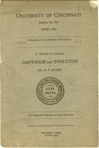 <p>Image of journal title page which includes A syllabus of lectures on Darwinism and evolution by M.F. Guyer.</p>