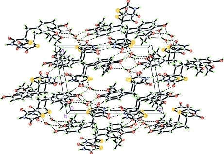 Crystal packing of the title compound. Intermolecular hydrogen bonds are shown as dashed lines.