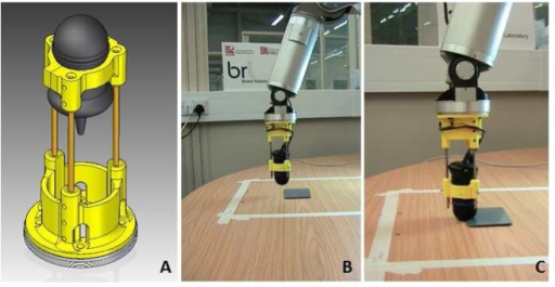 (A) sensor mounted in its cradle, (B) the cradle mounted on the WAM (Whole Arm Manipulator) approaching the environment and (C) the fingertip on the target during the active touch task.
