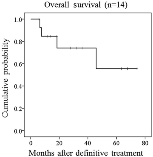 Kaplan-Meier estimated overall survival for 14 osteosarcoma patients without metastasis.