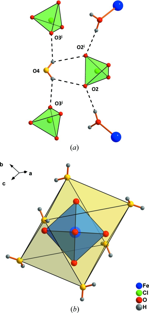 The connection scheme of water mol­ecules of the second coordination sphere by hydrogen bonds (a) and the formation of a secondary hydration shell (yellow) around the cations (b). The minor disorder component of the ClO4 tetrahedron has been omitted for clarity. Dashed lines indicate hydrogen bonds. [Symmetry code: (i)  − x,  − x + y,  − z.]