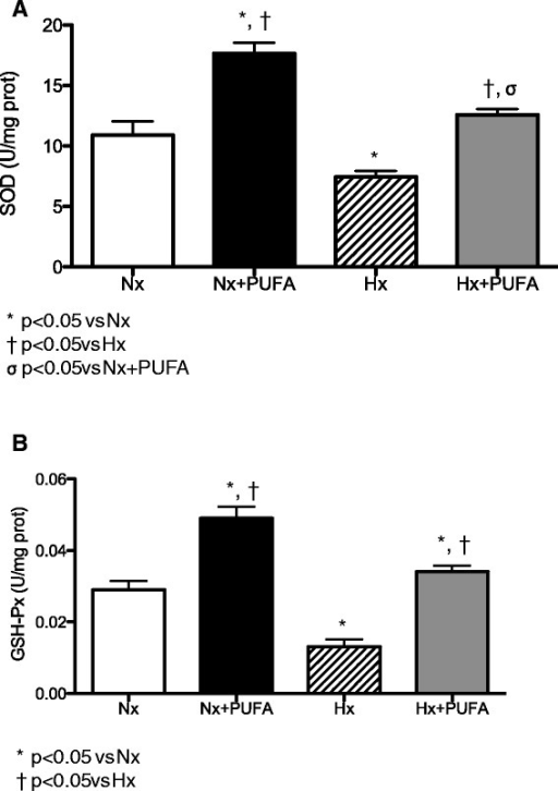 Effects of PUFA supplementation on antioxidant enzymes activity in testis. Superoxide dismutase (SOD, A) and glutathione peroxidase (GSH-Px, B) activities were assessed in testis at the end of study. Normobaric (Nx, n = 7) and intermittent hypobaric hypoxia (Hx, n = 7). Supplemented rats: normobaric, Nx + PUFA (n = 7) and intermittent hypobaric hypoxia, Hx + PUFA (n = 7). Bars indicate mean ± SD. Significant differences: *p < 0.05 vs Nx; †p < 0.05 vs Hx; σp < 0.05 vs Nx + PUFA.