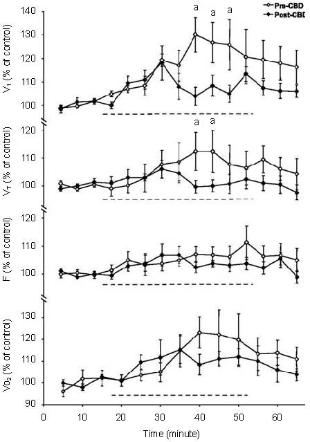 "Ventilation, tidal volume (VT), breathing frequency (f) and O2 consumption (VO2), expressed as a percentage of control, before, during and after focal acidification in the medullary raphé in awake goats before and after bilateral carotid body denervation (CBD). ""a"" denotes significantly different from CBD (P < 0.05)Note that the ventilatory response to raphé acidification is reduced following CBD. Adapted from[30]."