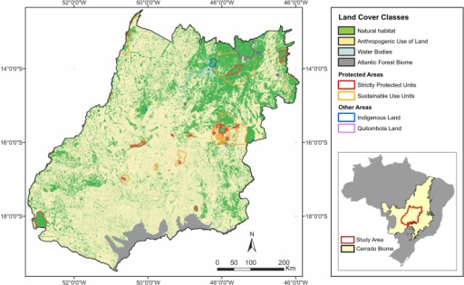 Protected areas (polygons) and land cover in the study region.