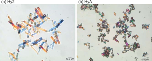 Photomicrographsof Hy2 (left) and HyA (right) crystals.