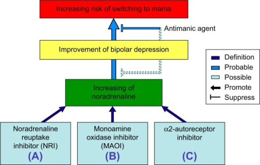 Schematic illustration showing the improvement or switching pathways induced by various antidepressants affecting the levels of noradrenaline.Notes: Augmentation of noradrenaline as various antidepressants can be the result of the three actions: (A) noradrenaline reuptake inhibitory action, (B) inhibitory action of noradrenaline deactivation, and (C) α2-autoreceptor inhibitory action.