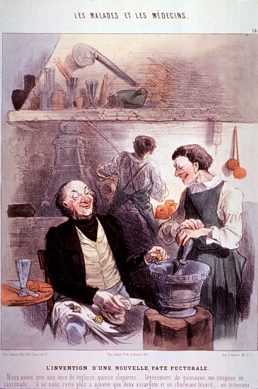 <p>Interior view of a pharmacy; the pharmacist is sitting in a chair dropping snails and salamanders into a mortar to be ground by his assistant; another person is working in the background.</p>
