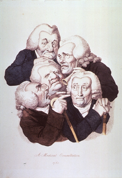<p>A cluster of old men shown half-length, some holding walking sticks and one with an ear trumpet.</p>